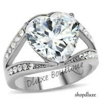 6.25 Ct Heart Shape AAA CZ Stainless Steel Engagement Ring Women's Size 5-10