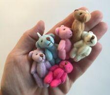 Miniature Teddy Bears Dollhouse Craft Project Stocking Stuffers  (set of 6)