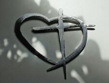 "Heart & Cross Silver X Large 40"" wide HANGING METAL WALL ART DECOR"