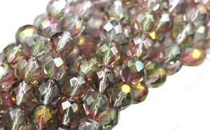 25 Pink / Green Faceted Round Loose Glass Beads 8MM