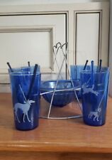Set Glasses&Holder~Borzoi Boston Scottie~Pekingese Boxer Dog~Cobalt~Hazel Atlas