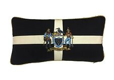 Vintage Look Cornwall Flag Cushion with Embroidered One & All Crest 15'' x 30''