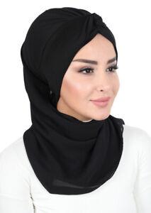HT-55 Fertig Kopftuch Praktisch Hijab Chiffon Türban Esarp Sal Tesettür Khimar