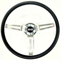 """Chevelle Impala Nova Steering Wheel black with stainless band 15"""" SS Cap"""