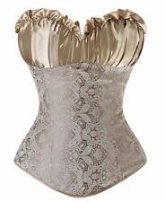 Womens Lace Up Boned Plus Size Corset Bustier Renaissance Top Wedding 14/16