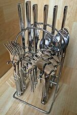 24 PIECE STAINLESS STEEL DINNER CUTLERY SET WITH KITCHEN HOLDER STAND RACK
