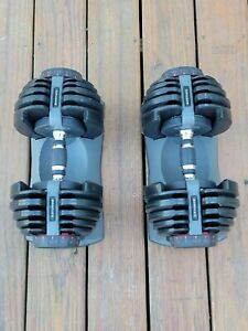 Two Bowflex SelectTech 552 Adjustable 5 to 52.5 LBS Dumbbell