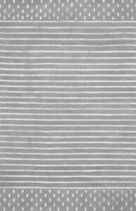 Morse Awning Stripes Gray Hand-Tufted 100% Wool Soft Area Rug Carpet.