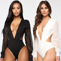 Women Sexy Deep V Long Tulle Sleeve Bodysuit Romper Jumpsuit Leotard Tops Blouse