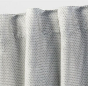 """THRESHOLD Small Check Blackout Curtain Panel  Seagull Gray 84""""x50"""" NWT"""