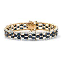 WOMENS 14K YELLOW GOLD MIDNIGHT BLUE SAPPHIRE AND DIAMOND ACCENT GP BRACELET