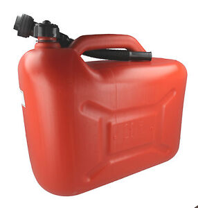 20L Litre Red Fuel Canister Plastic Lawnmower Jerry Can Flexible Spout