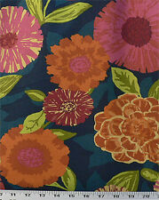 Drapery Upholstery Fabric Cotton Duck Abstract Floral 50K Dbl Rubs - Navy