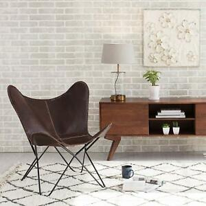 Original BKF Butterfly Chair Cowhide Leather White Cover and Black Frame from
