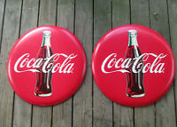 Coca-Cola Set of 2 Distressed 24 Inch Red Disc Button Signs Contour Bottle