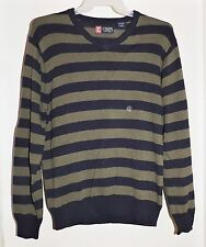 Chaps Men's L/S V-Neck Sweater-Navy Blue/Olive Green Stripe Size Large-NEW