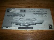 AMT STYLINE 1961 ?-FORD GALAXIE HTP- INSTRUCTIONS/DECALS ONLY -