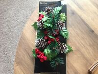 2 Festive Candle Ring Christmas artificial  Ivy, berries cones Set of 2