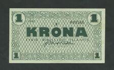 More details for iceland  1 krona  1941  krause 22a  ef+  banknotes