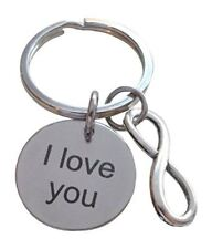 """Saying Disc with Infinity Charm, """"I Love You"""" Engraved Saying Disc Keychain"""