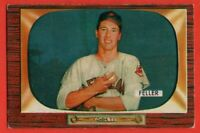 1955 Bowman #134 Bob Feller EX-EX+ Hall of Fame Cleveland Indians FREE SHIPPING