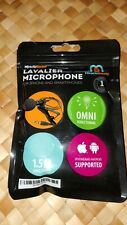 Miracle Sound Lavalier Microphone-Iphone/Android Supported-Omni-1.5M Cable-New