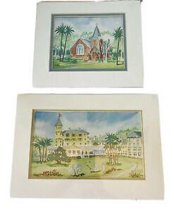 Watercolor Prints by Mary Trussell Griffith Tropical Scenery Church Resort Lot/2