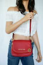 Michael Kors Bedford Small Flap Crossbody Pebbled Leather Bag Red Scarlet
