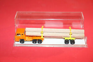 MAJORETTE  Fardier Bernard ech :1/100 camion orange  transportant du bois