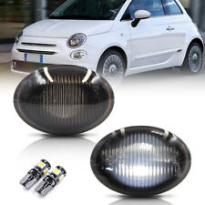 Smoke Lens White Led Side Marker Light for 2007-2019 Fiat 500 500e 500c Abarth