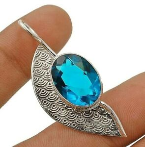 12CT Flawless Blue Topaz 925 Solid Sterling Silver Pendant Jewelry ED22-4