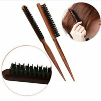 HAIR TEASING BRUSH SALON COMB WOODEN HANDLE BACK COMB NATURAL BOAR BRISTLE