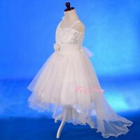 Sequined Tulle W/ Train Flower Girl Dress Wedding Pageant Party Size 2T-8 FG333