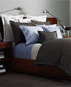RALPH LAUREN HABERDASHERY Grey Gray White Striped Bedskirt - KING