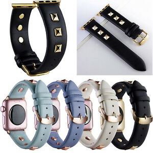 For Apple Watch Leather Band 40/44mm iWatch Rivets Studs Strap Series SE 6 5 4 3