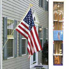 American Flag Pole Kit 6ft Gold Wall Mount Flag Pole Kit Eagle (w/ 3x5 Usa Flag)