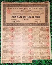 Monaco - Monte Carlo - Action de 500 F Sociétés Hôtelières de Luxe  01/10/1929