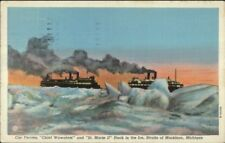 Straits of Mackinac MI Car Ferry Ships Chief Wawatam & St. Marie II in Ice PC