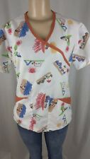 PSU Scrub Top Size Small Color White 2 Pockets Crayon Drawing Kids Playground