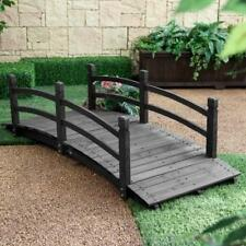 Wood Garden Bridge 6 Foot Wooden Walkway Dark Stain Outdoor Creek Path Backyard