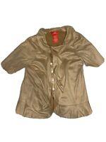 Women's Oscar An Oscar De La Renta Company Beige Long Sleeve Shirt (Size 8)
