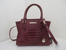 NWT BRAHMIN MINI PRISCILLA MELBOURNE EMBOSSED LEATHER SATCHEL-$265-CRANBERRY