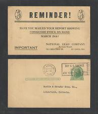 1940 Dutch Boy Paint National Lead Co St Louis Mo Advertising Postal Card Ux27