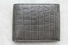 Double Side Dark Gray Genuine Crocodile Leather Skin MEN'S Bifold Wallet