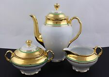 VICTORIA CZECHOSLOVAKIA CHINA 3-PIECE COFFEE SET, 24KT GOLD DECORATED – MINT