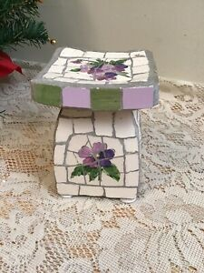 mosaic White glass candle holder w Purple Daisy Design Pedestal Stand