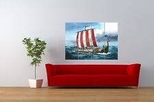 Painting Ancient Transport Viking Longboat Giant Wall Art Poster Print