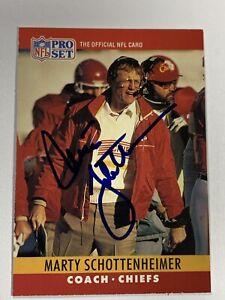 Marty Schottenheimer signed 1987 Pro Set card kc chiefs football coach