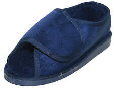 Extra Wide Fit Slippers Fur Lined Open Toe Hook Loop Navy Blue Size 10/44
