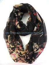 US SELLER , long shawl vintage birds branch floral circle loop infinity scarf
